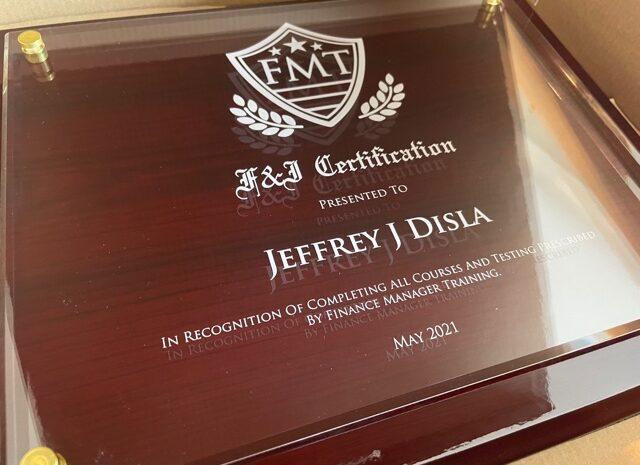 diplomas for F&I dealership